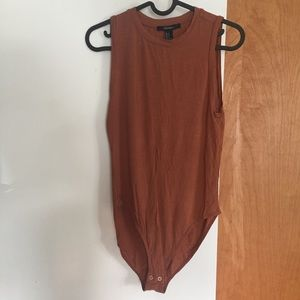 Burnt sienna muscle tank bodysuit with snaps